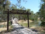 Warracknabeal / Lions Flora and Fauna Park, Yarriambiack Creek / View west towards footbridge over creek and into Lions Park, near northern end of Scott St