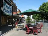 Warragul / Commercial centre and shops / Tables outside Railway Hotel, Queen St