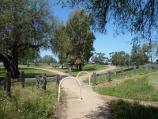 Werribee / Riverbend Historical Park, Heaths Road / View east along pathway between picnic area and weir