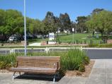 Wonthaggi / Watt Street and gardens along centre of southern end of McBride Avenue / View south along gardens in centre of McBride Av from Watt St