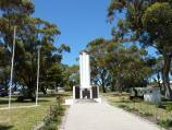 Wonthaggi / Watt Street and gardens along centre of southern end of McBride Avenue / War memorial in gardens in centre of McBride Av at Baillieu St