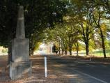 Yackandandah / Wodonga Road, north-east of Yackandandah / View south-west along Wodonga Rd at war memorial, Staghorn Flat