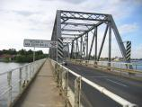 Yarrawonga / On the bridge across Lake Mulwala, Belmore Street / Welcome to New South Wales state border sign, view north towards Mulwala