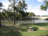 Yarrawonga / Alexandra Park and Yarrawonga Weir on Murray River at Lake Mulwala / View north across Murray River from gardens just west of weir